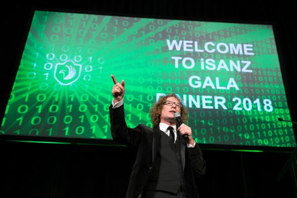 Te Radar welcomes the audience to the iSANZ Awards Night, Te Papa, Wellington, Tuesday, 13 November 2018.